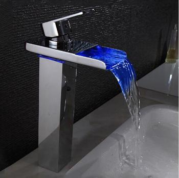 New Sink Tap Temperature Controlled Faucet,LED Crane Modern Water Tap Bathroom,Waterfall Faucet,Bathroom Faucets, Free Shipping