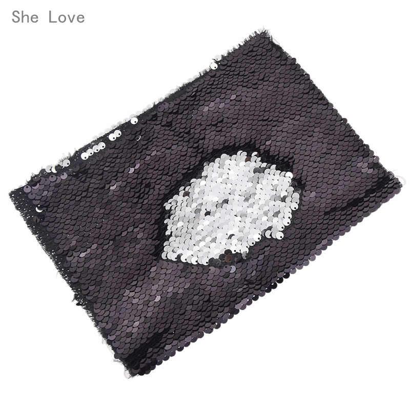 انها تحب A4 مزدوجة الوجه الترتر النسيج لحقائب اليد الملابس DIY بها بنفسك الأنسجة الخياطة مواد النسيج الحرفية صنع الملحقات