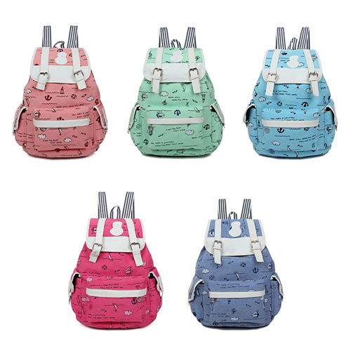 Cute Girl Canvas School Bag Travel Cute Backpack Satchel Women Shoulder Rucksack sailing