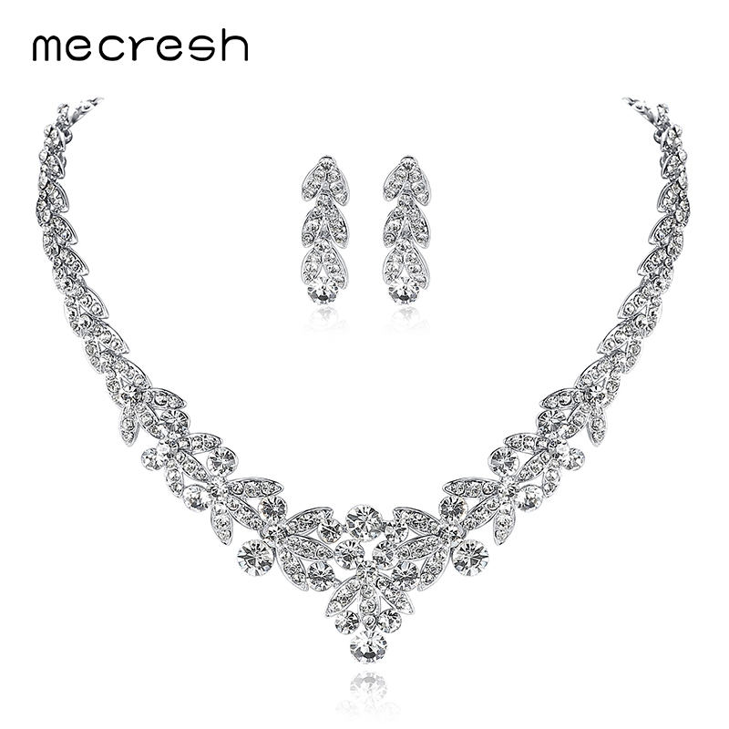 Mecresh Luxurious Silver Color Crystal Bridal Jewelry Sets Leaf Shape Choker Necklace Earrings Wedding Jewelry for