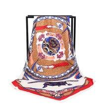 New Arrival Fashion Women soft satin brand scarf / Japanese Ukiyo-e Printed quare silk scarves 100cm Gifts Wholesale