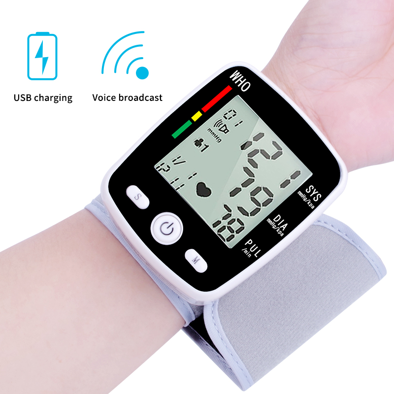 English  Voice Three color backlighting LCD upper arm blood pressure monitor heart beat instrument tonometerEnglish  Voice Three color backlighting LCD upper arm blood pressure monitor heart beat instrument tonometer