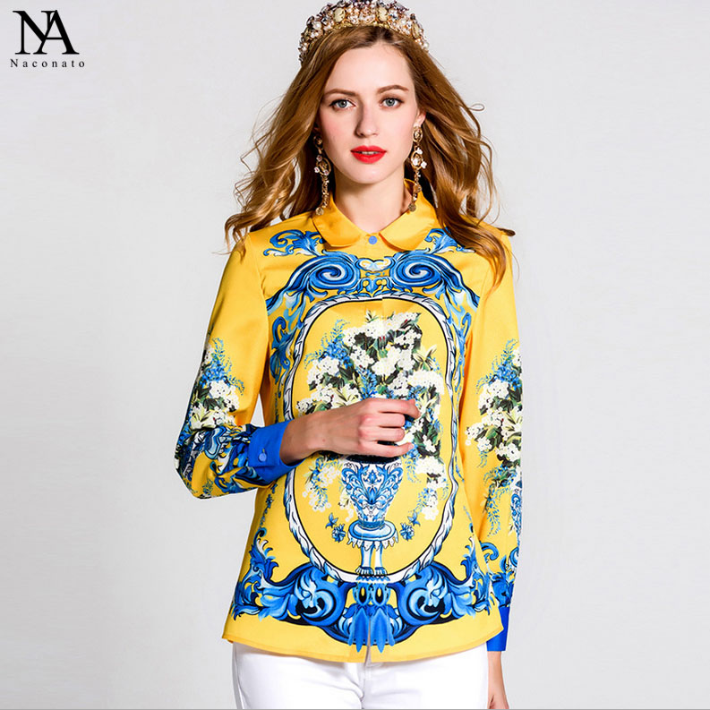 New Arrival 2018 Spring Summer Womens Turn Down Collar Long Sleeves Pattern Floral Printed Elegant Runway Shirts in Plus Sizes