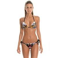 NEUE 010 Sexy Mädchen Sommer Tier Tiger 3D Drucke Thongs Seile Bikini Set Badeanzug Bademode Frauen Badeanzug
