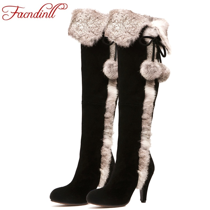 FACNDINLL women snow boots 2017 winter thin high heels warm real leather fur long plush black shoes woman over the knee boots zvq winter knee high boots woman mid heel round toe ladies warm shoes real fur genuine leather foot upper women boots heels