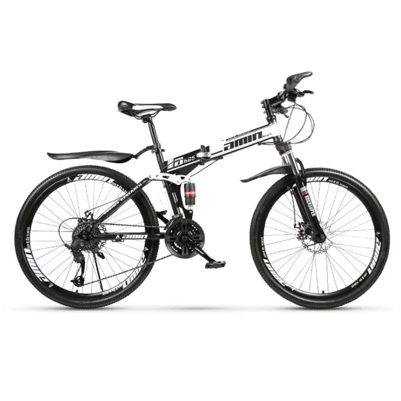 24 дюймов и 26 дюймов складной горный велосипед 21 скорость спицевое колесо горный велосипед двойные дисковые тормоза двойной демпфирующий