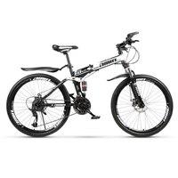 24 дюймов и 26 дюймов складной горный велосипед 21 скоростной спиц колесо горный велосипед двойные дисковые тормоза двойной демпфирующий вело
