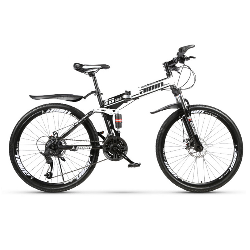 24inch And 26inch Folding Mountain Bike 21 Speed Spoke Wheel Mountain Bicycle Double Disc Brakes Double Damping Bike