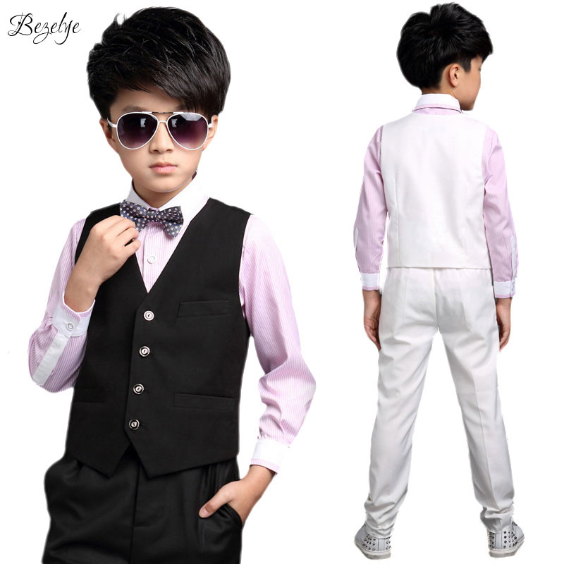 New Children Suit Fashion Baby Boys Suits Kids Blazer Boys Formal Suit For Weddings Boys Clothes Set Shirt+Vest+Pants 3pcs 5-13Y 2016 new arrival fashion baby boys kids blazers boy suit for weddings prom formal wine red white dress wedding boy suits