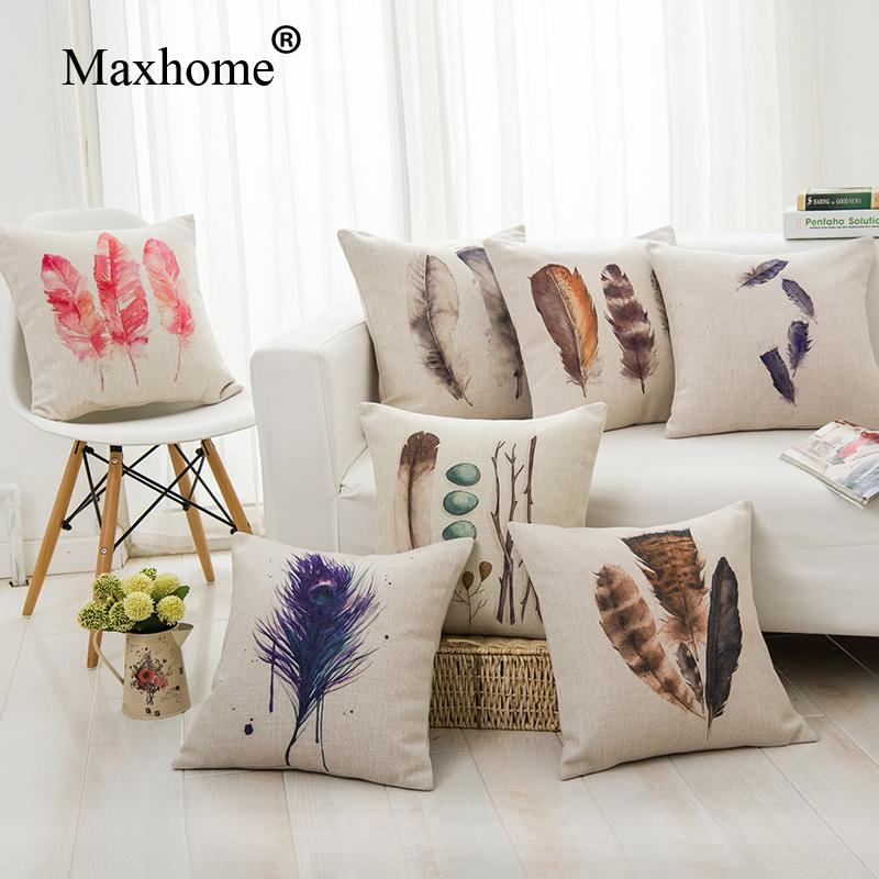Nordic Design Sofa Cotton Linen Pillowcase Feathers Square