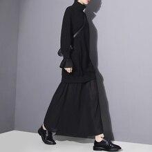 2016 Black Mesh Spliced Dress Women large size Loose Turtleneck Dresses Female New Casual Vestidos Ankle-Length black dresses