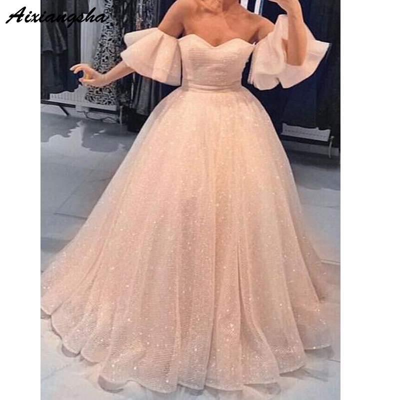 Sparkly   Evening     Dress   2019 Sweetheart Off The Shoulder Ball Gown Dubai Saudi Arabic Long Elegant   Evening   Gown Prom   Dresses