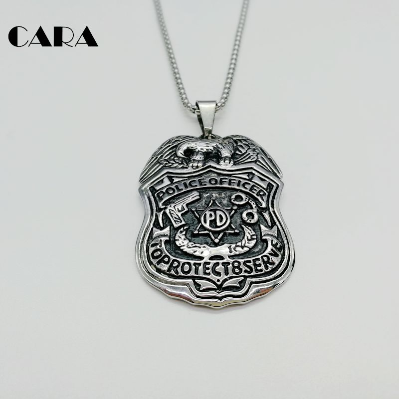 Cara new 316l stainless steel eagle police pd badge pendant cara new 316l stainless steel eagle police pd badge pendant necklace mens officer fashion pendant necklace jewelry cara0383 in pendant necklaces from mozeypictures Choice Image