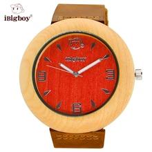 IBigboy Moda Reloj de Los Hombres De Madera de Arce Secoya Madera de Pulsera Para Las Mujeres Relojes de Cuarzo de Cuero Genuino como Regalos Del Artículo