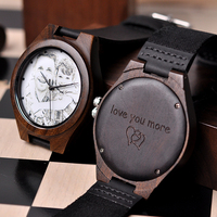 BOBO BIRD Personalized Men Watch Wooden Timepieces Special Family Present Customers Photos Free Printing Engraving Drop Shipping|Quartz Watches|Watches -