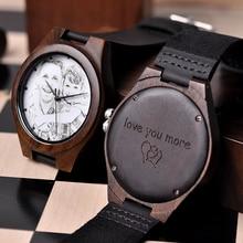 Мужские часы BOBO BIRD под заказ, деревянные часы, особый семейный подарок, фотографии клиентов, Бесплатная печать, гравировка, Прямая поставка