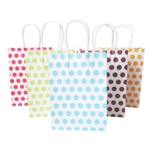 10pcs/lot Colorful Dot Paper Gift Bags With Handle 16x22cm Wedding Birthday Party Favor Fashion Decoration Packing Bag
