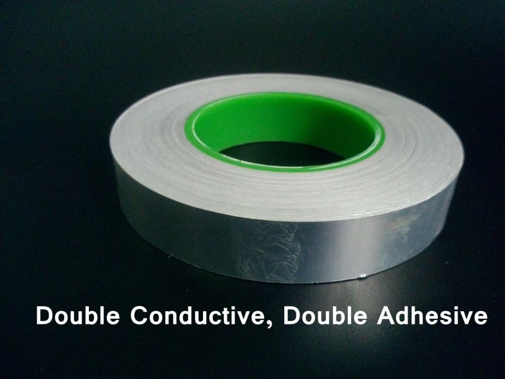 0.095mm Thick (30mm*50M) Double Sides Adhesive Conductivity Aluminum Foil Electrostatic shielding Tape fit for PDP, LCD 0 095mm thick 40mm 50m two sides adhesive conductivity aluminum foil mask tape fit for pda lcd