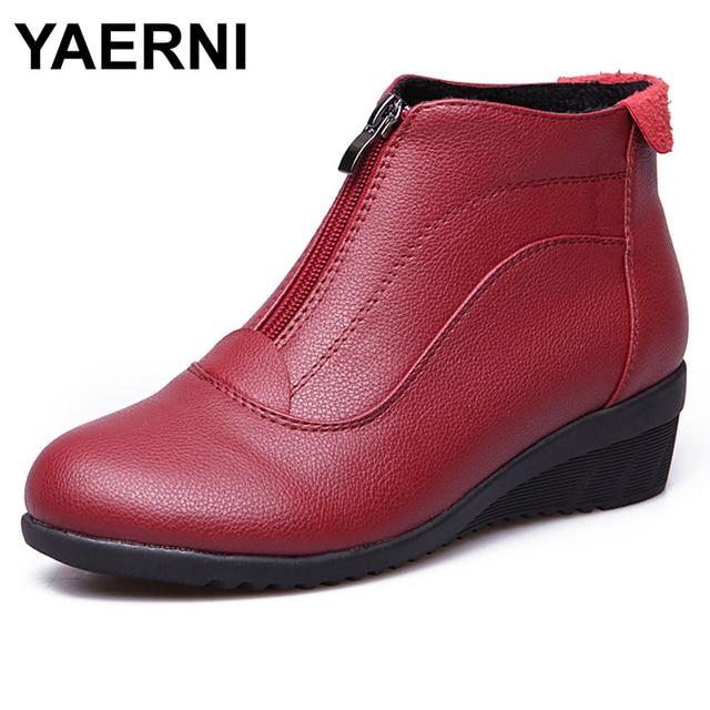 YAERNI yarım çizmeler Kadın Sonbahar Kış Deri Çizmeler Moda Flats Casual yarım çizmeler Kadınlar Için Yuvarlak Ayak Zip Çizmeler