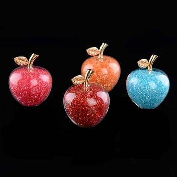 Colorful Crystal Craft Glass Apple Paperweight with Diamond Natural Stone Home Decor Ornament Fruit Figurines Gift Souvenir 1
