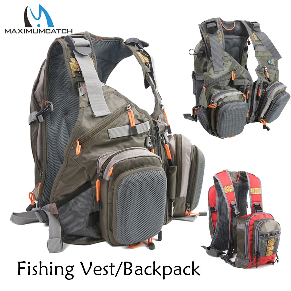 Maximumcatch Fly Fishing Vest Backpack With Multifunction Pockets Adjustable Outdoor Sports Mesh Fishing Bag With Tools