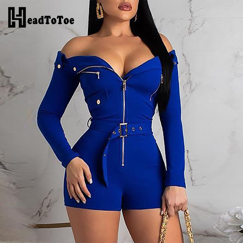 Sexy Off Shoulder Zipper Design Romper Women   Jumpsuits   Long Sleeve One Piece Overalls Playsuits Streetwear Monos De Mujer