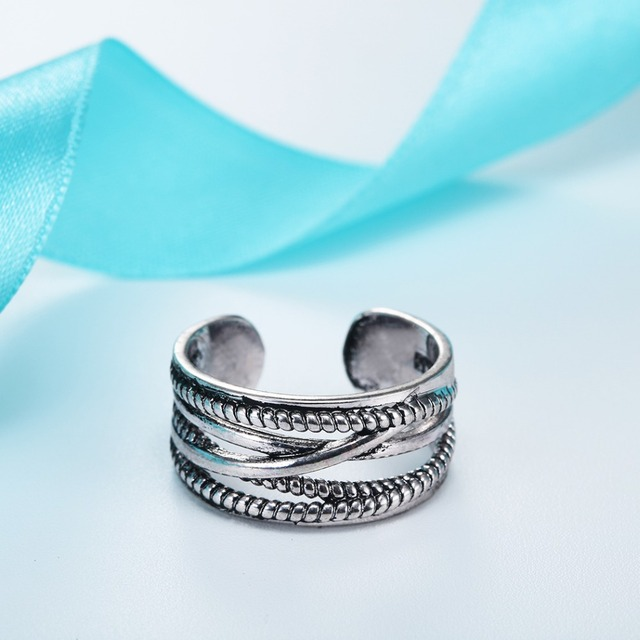 Todorova 925 Sterling Silver Jewelry Layers Line Vintage Accessories Antique Silver Oxidized Adjustable Wedding Rings for Women