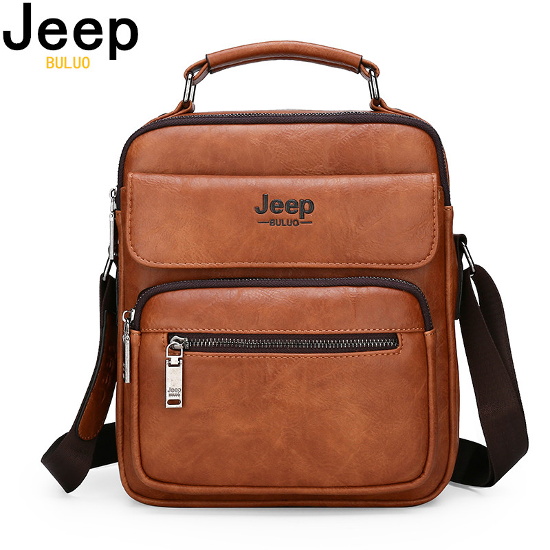 JEEP BULUO Brand Man Leather Crossbody Shoulder Messenger Bag For  9.7 inch iPad Casual Business Big Size Mens Handbags Famous  -