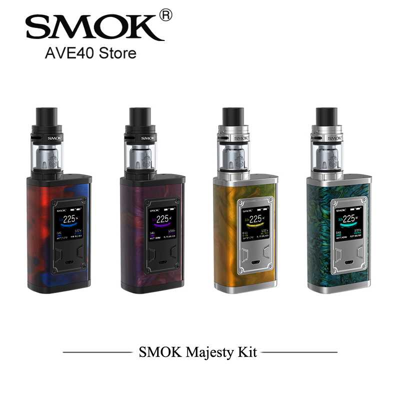 Buon Prezzo Originale SMOK Maestà Kit 225 w Sigarette Elettroniche Box Mod Kit con 4 ml X-Carro Armato Del Bambino resina In Fibra di Carbonio E Sigaretta