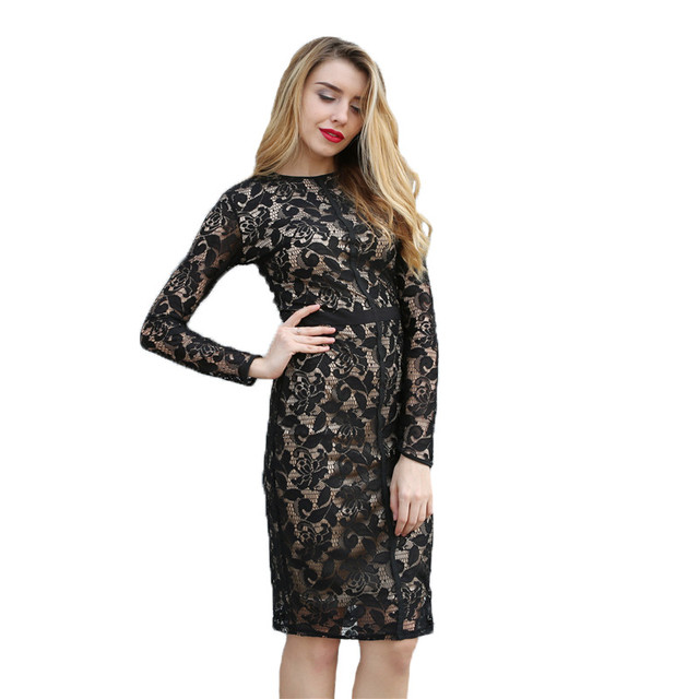 Sexy Floral Lace Dress Women 2017Summer Long Sleeve Party Dress Black White Knee-length Midi Dress Bodycon Club Vestido De Renda