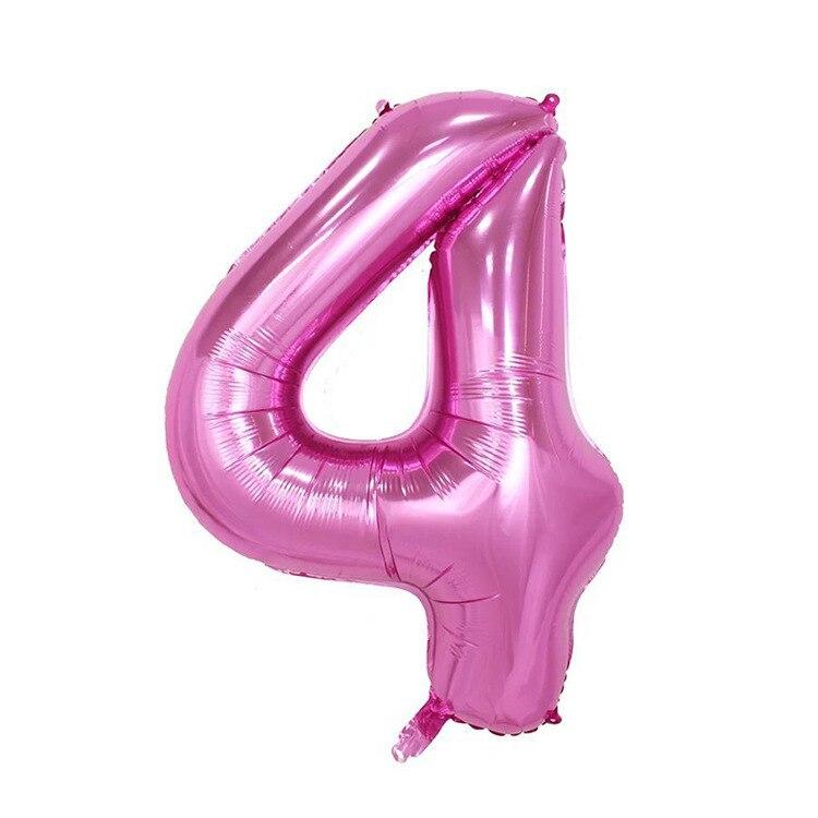 32 дюйма розовый синий 40 дюймов красный фольгированный шар большой гелиевый номер 0-9 Globo день рождения для детей Вечеринка мультфильм шляпа Декор - Цвет: pink 4