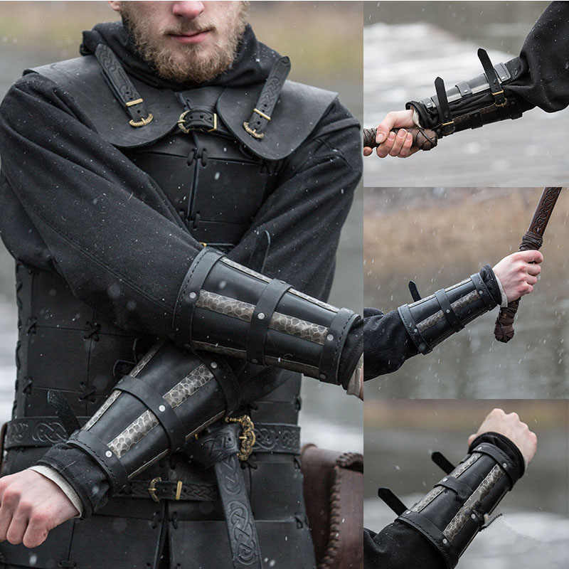 Adult Men medieval Warrior Larp Knight leather Arm Bracer with Buckle Armor Rivet Steampunk Archer Gauntlet Cos Costume For Men