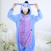 2016 Men Women Winter Spring Fleece Kawaii Cute Adult Animal Couples Blue donkey Onesie Pajamas Costume Donkey Eeyore Onesie