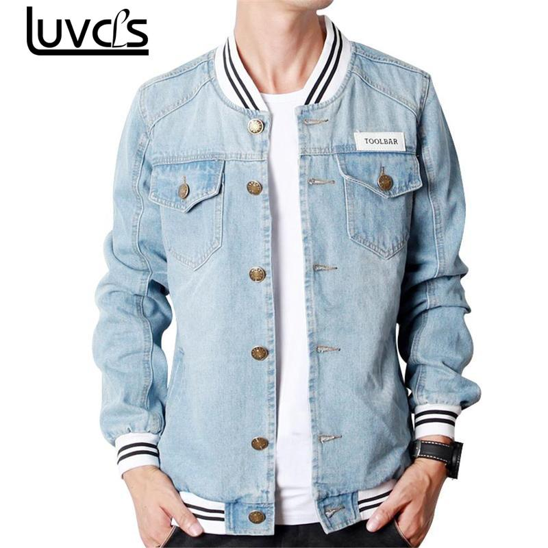 LUVCLS 2018 New Striped Men Denim Jacket Fashion Unisex Slims