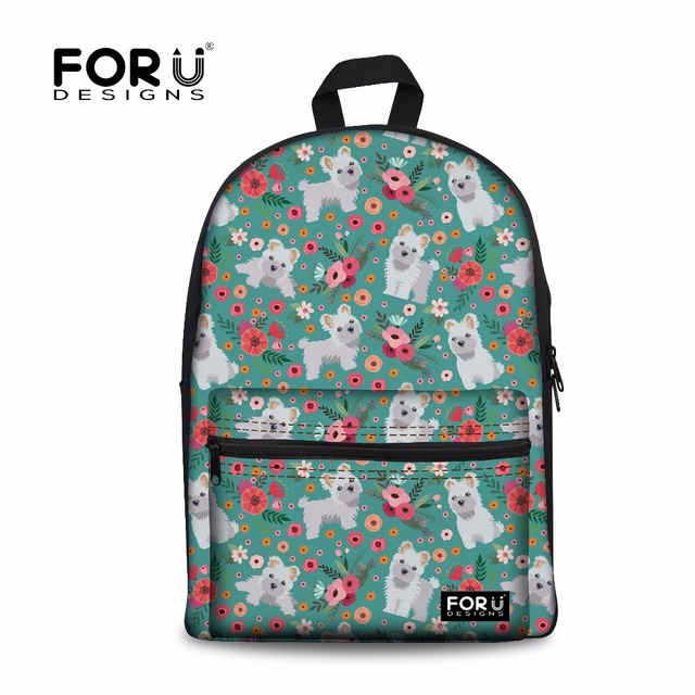 Forudesigns Cute Maltese Printing Backpack Female Fashion Shoulder
