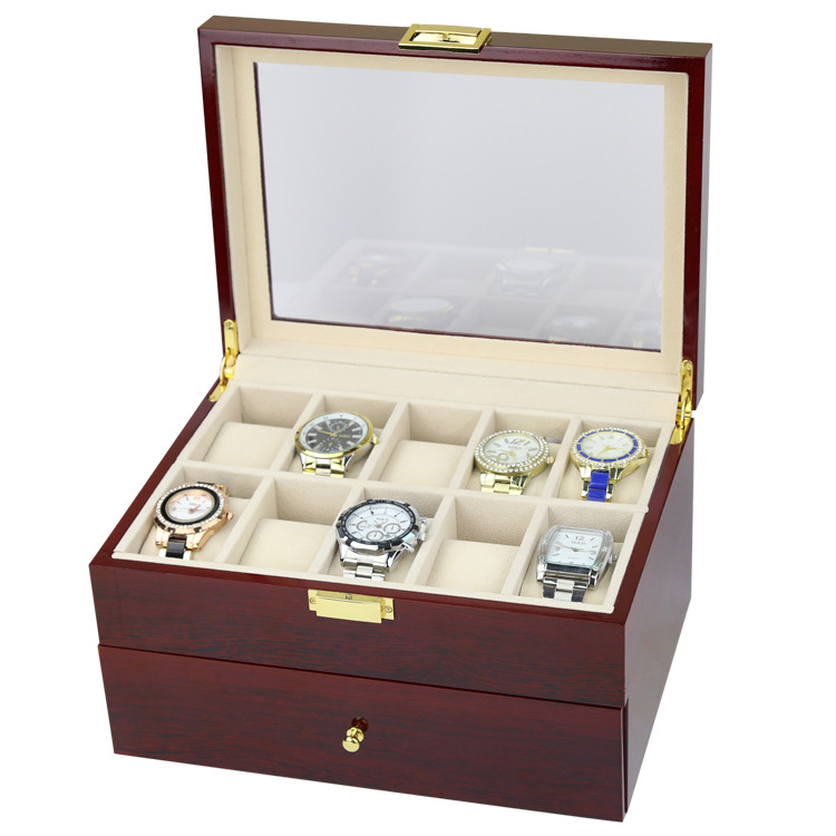 Collection Wood Finish Watch Case Display Storage Watch Box Chest With Glass Clear Viewing Top Holds 20 Watches 2 Layer Storage
