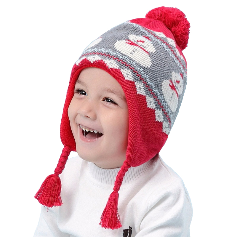 20beba2d7ac20 Christmas Gift Toddler Baby Girls Boys Winter Hat Snowman Warm Knitted Cap  Children for 6 Month To 8 Years Old Kids Red