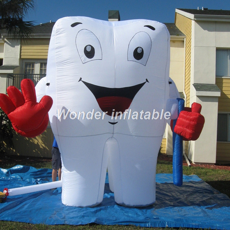 Free shipping 4mH airblow cute giant inflatable tooth with toothbrush for advertising image