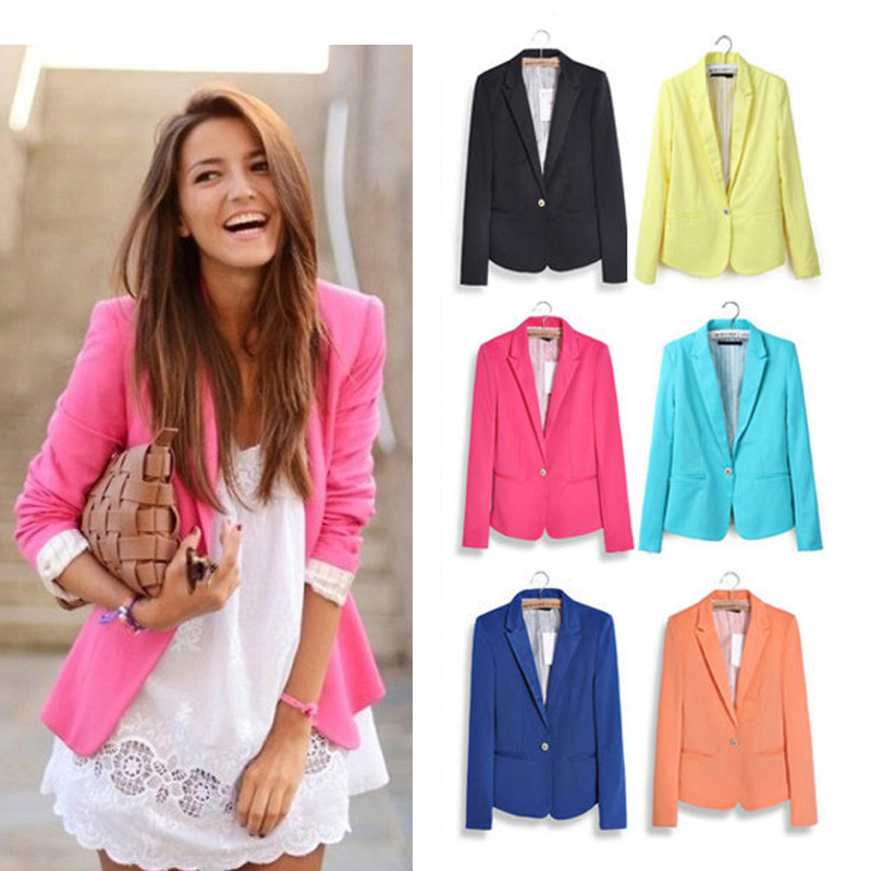 2016 New Casual Slim Women's Blazers With Striped Lined Women Single Button Blazer Suit Seven Colors XS-XXL Solid Ladies Jacket