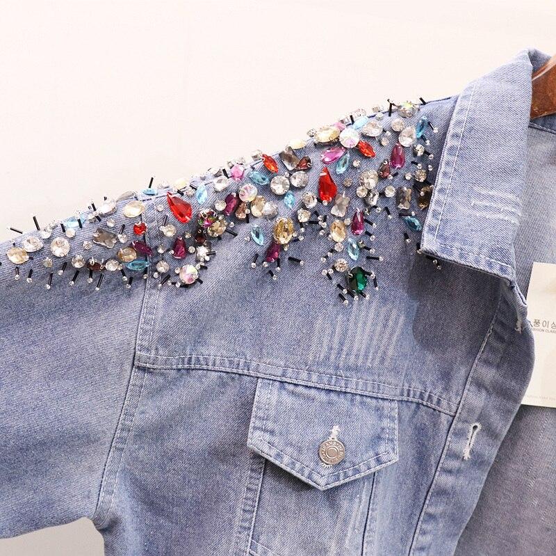 Automne Printemps Perle Lâche Manteau Brodés Nouveau Femmes Pu Jeans De Outwear Denim Ciel D'épaule Femelle 2019 Étudiants Veste Paillettes zx418wxq