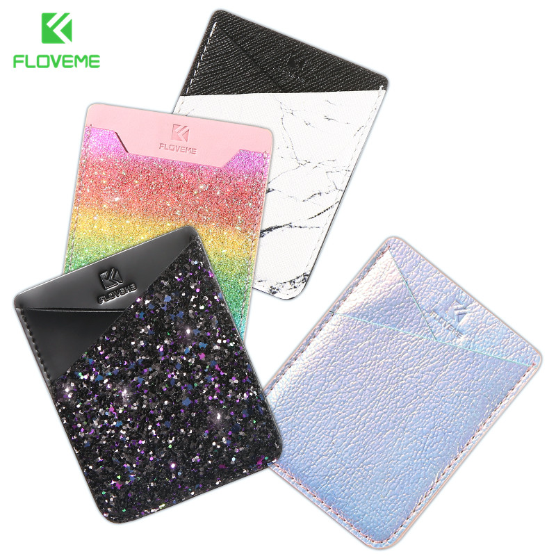 FLOVEME Colorful Adhesive Sticker Card Holder Back Cover Phone Pouch Case For Samsung S9 S8 S9 Plus For iPhone X 8 7 Plus Coque