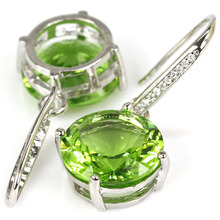 Новинка 15×15 мм круглый зеленый цаворит Гранат, cz женщина 925 Серебряное Серьги 37×16 мм