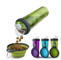 Free Shipping Portable Travel Bowls Pet Dog Food And Water Bottle Dual Purpose Camping Feeder Present