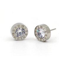 TYME 316L Stainless Steel Woman Jewelry Roman Number Stud Earring Crystal Gold Color Love Earrings For