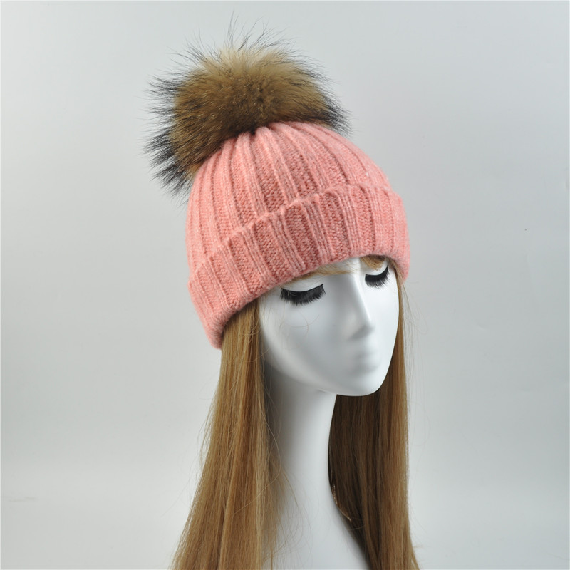 Winter Women Beanie Hat Wool Blend Knitted Natural Fur Ball Cap with Real Raccoon Fur Pom Pom Cashmere Pompom Beanie Hat Female unisex illest letter hat gorros bonnets winter cap skulies beanie female hiphop knitted hat toucas outdoor wool men pom ball