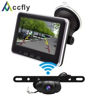 Accfly Wireless Car Reverse reversing Rear View Backup Parking Camera License Plate camera with Monitor for Car SUV RV