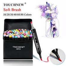 TOUCHNEW Soft Brush Markers Pen Set Sketch Dual Brush Markers Alcohol Based Markers Manga Drawing Animation Design Art Supplies dainayw 12 colors skin tone dual tip art sketch markers soft brush tip markers for manga drawing design school supplies