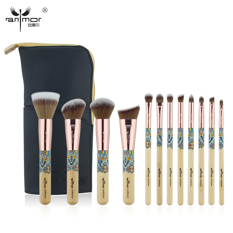 Anmor Brand New Arrival 12 pieces Synthetic Makeup Brushes Set with Unique Design Black Brush Bag CH012B 2016 new arrival black dual purpose eyelash assist device extension beauty supplies brow brush lash comb makeup brushes tools