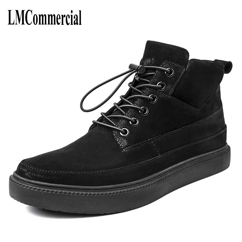 hot 2017 authentic men s boots british tide martin boots men s leather boots leather boots lovers scooter 34 45 autumn winter British retro men Martin boots shoes leather All-match European  breathable male short boots shoes
