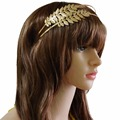 Idealway Fashion Cute Double Layer Hairband Leaf Shape Gold Plated Alloy Party Hair Jewelry Women & Girl Hair Accessories